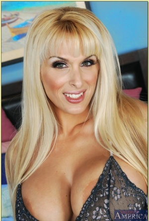 Dazzling MILF beauty Holly Halston strips from underwear and panties
