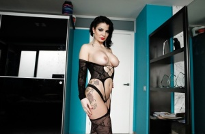 Raven-haired MILF with hot ass posing in provocative nylon outfit